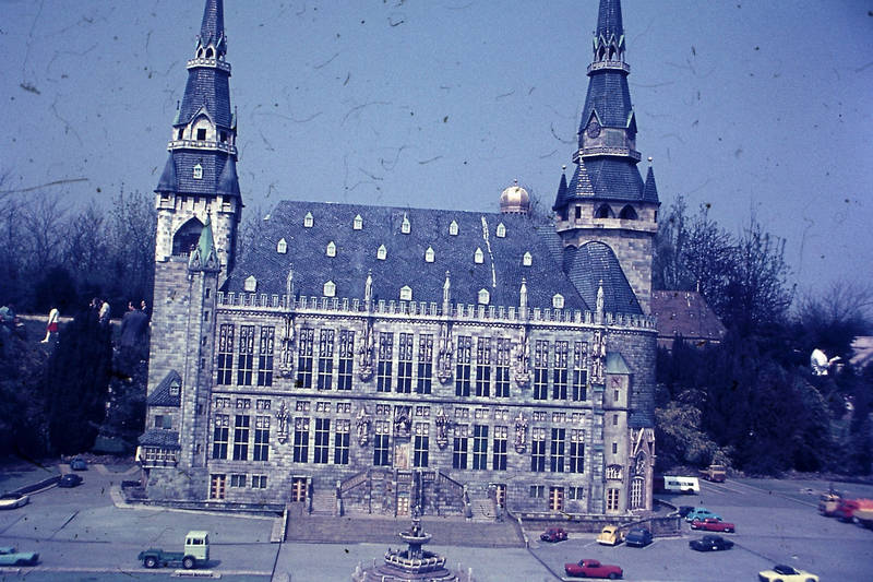 Aachen, gebäude, Karlsbrunnen, Miniatur, Miniaturpark, minidomm, park, Rathaus