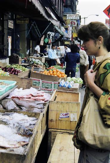 fisch, Gemüse, lebensmittel, new york, New York City, Obst, Straßenstand, Verkaufsstand