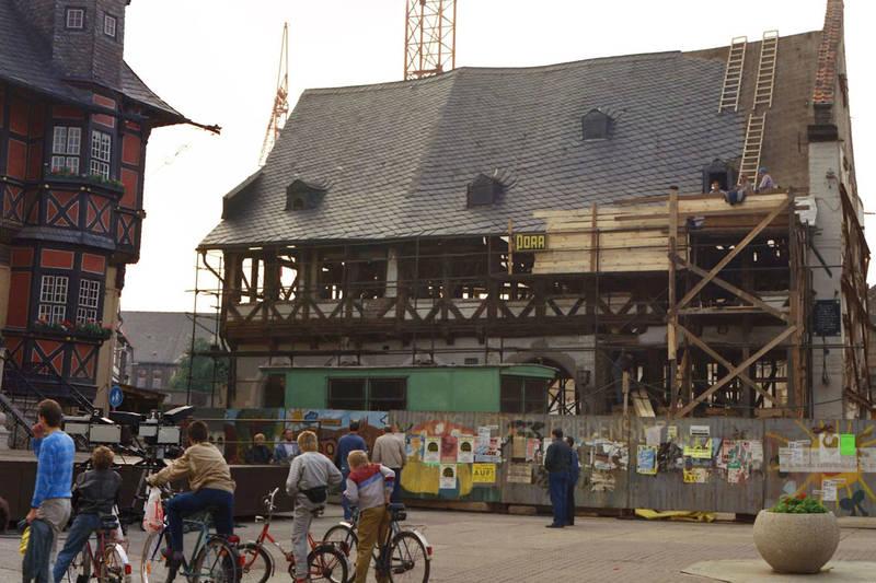 Bauarbeiter, fahrrad, fernsehkamera, Marktplatz, Rathaus, Wernigerode