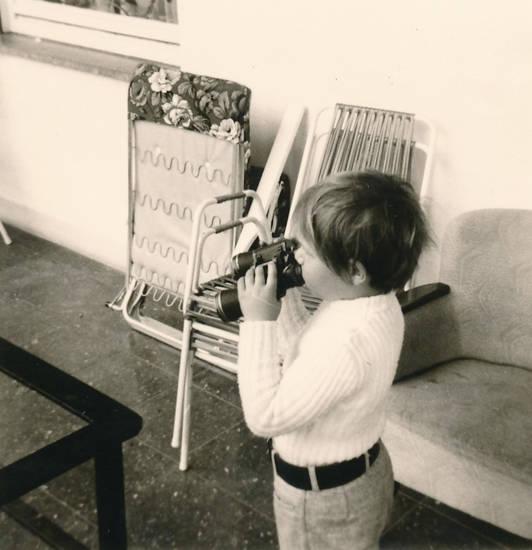 Fernglas, Gartenstuhl, Kindheit, Terrasse