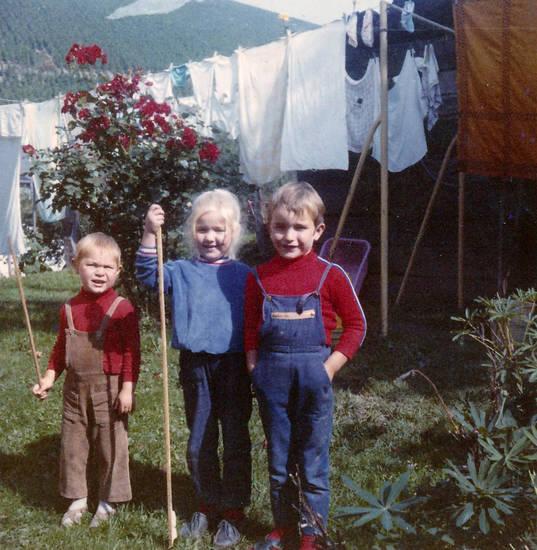 Kindheit, Latzhose, Stock, wäsche, Wäscheleine