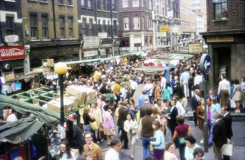 Flohmarkt, innenstadt, markt, Menschenmenge, straße, Williams Betting Office