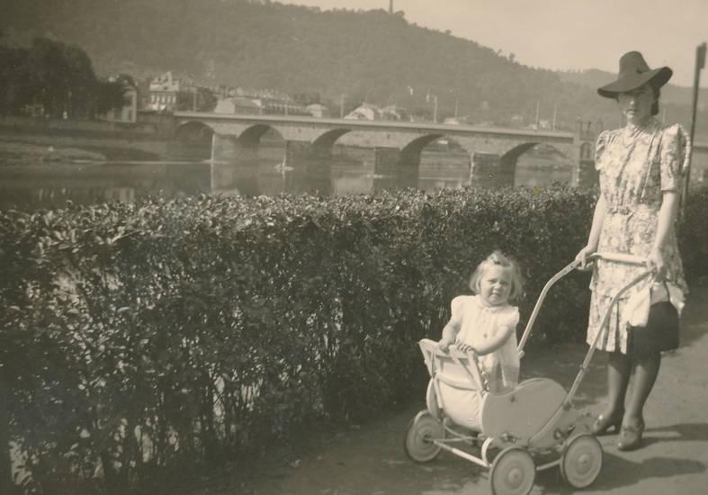 brücke, familie, fluss, kinderwagen, Kindheit, spaziergang