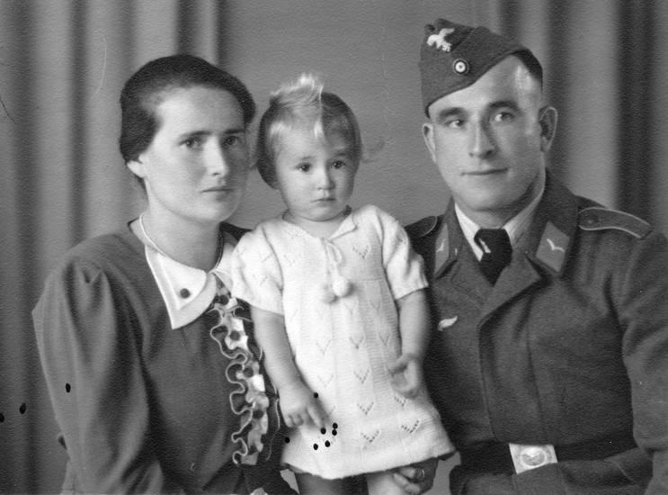 familie, Kindheit, Mutter, soldat, Uniform, vater