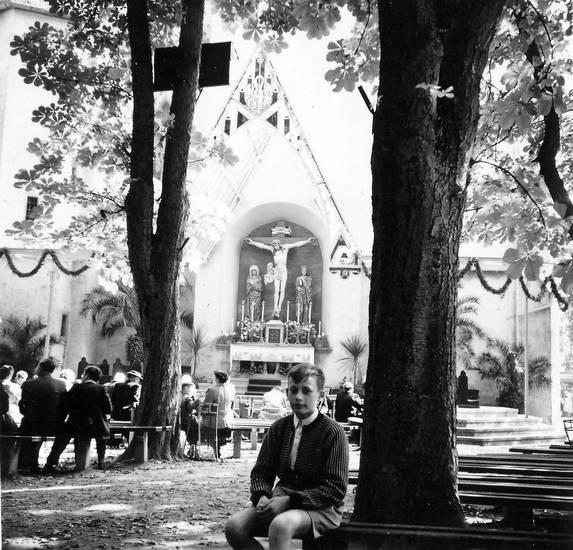 Altar, Bank, baum, kirche, Kreuz, Religion