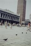 Tauben und Fußgänger