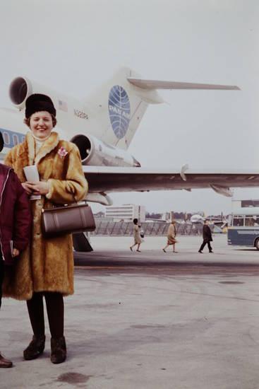 B727-21, Flughafen, flugzeug, Handtasche, Pan Am, Pan American World Airways, pelzmantel, reise, urlaub