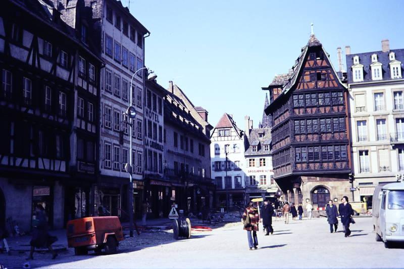 asphaltarbeit, Baustelle, Elsass, Fachwerkhaus, Kammerzellhaus, Münsterplatz, straßburg, straße