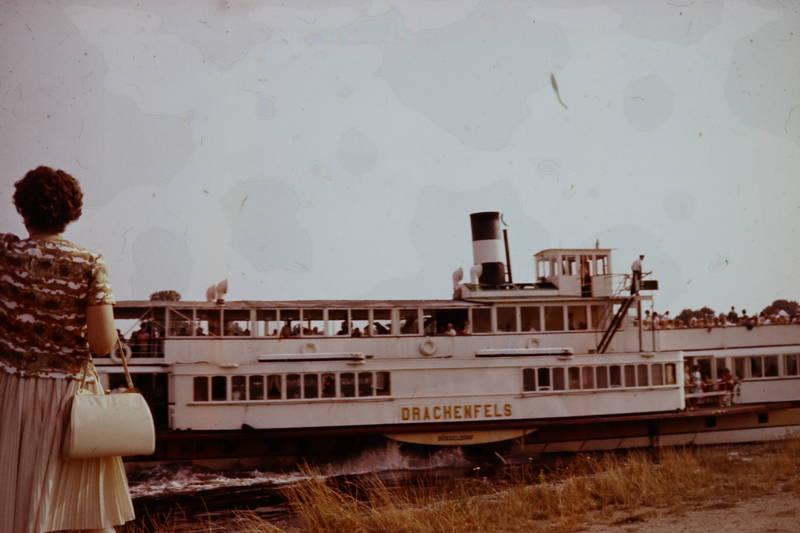 Anlegestelle, Drachenfels, Fährschiff, Raddampfer, Rhein, Rheinufer, schiff, Ufer
