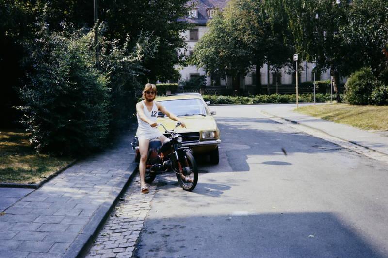 auto, biker, KFZ, moped, Motorrad, mülheim-dümpten, Opel, PKW, rekord-d, sonnenbrille
