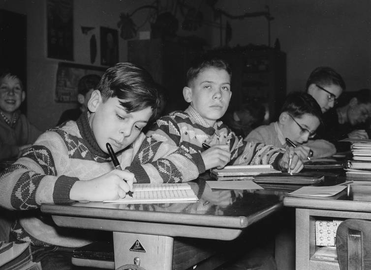 füller, grundschule, heft, Klassenzimmer, schreiben, tisch