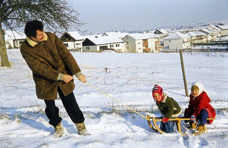 familie, Kindheit, rodeln, schlitten, schnee, winter