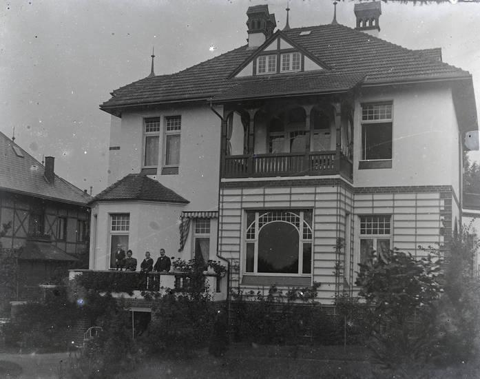 Balkon, familie, garten, haus, Kindheit