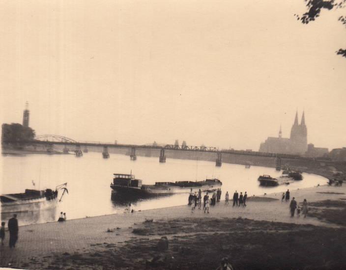 Besatzung, köln, Kölner Dom, Pattonbrück, Rhein, schiff, Ufer