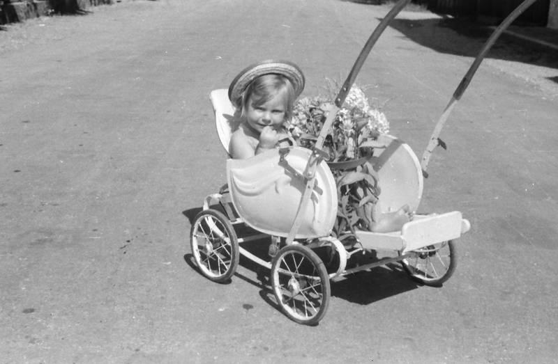 Blume, Blumenstrauß, hut, kinderwagen, Kindheit
