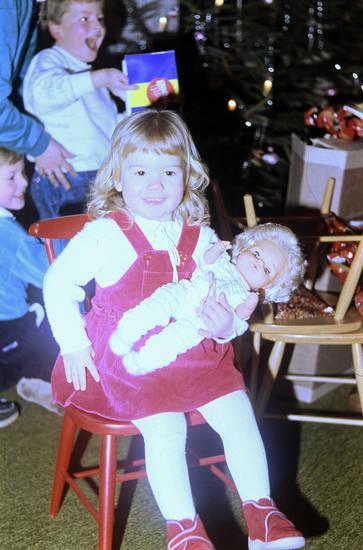 geschenk, Kindheit, kleid, puppe, Stuhl, Weihnachten, Weihnachtsbaum