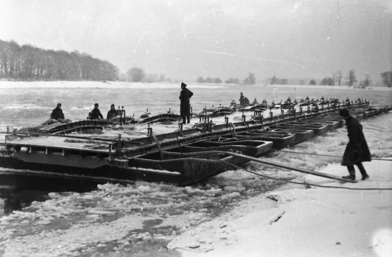 boot, Eis, fluss, ponton-schwimmbrücke, schnee, schwimmbrücke, soldat, Uniform, winter