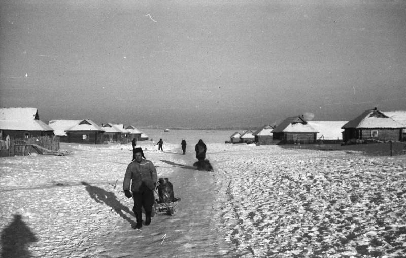 Holzhütte, kleidung, Russland, Schlitte, schnee, stiefel