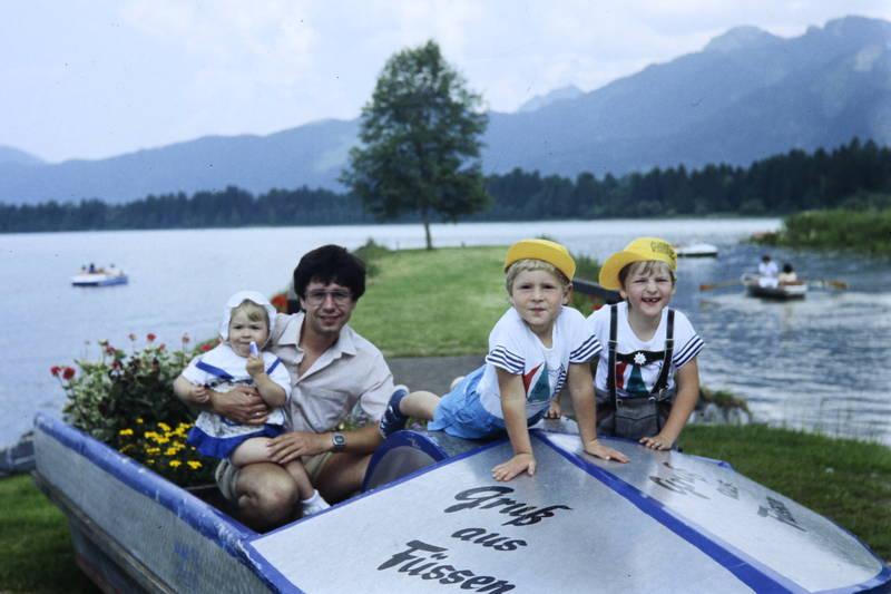 Blumenkasten, boot, familie, Füssen, Gruß aus Füssen, Kindheit, schiff, vater