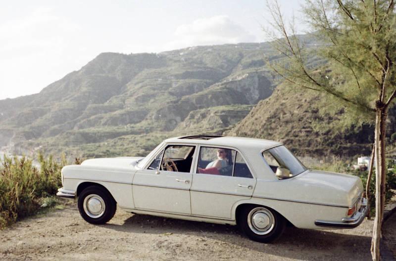 Aussicht, auto, baum, Felsen, KFZ, mercedes, mercedes-w108, PKW, Urlaubsreise