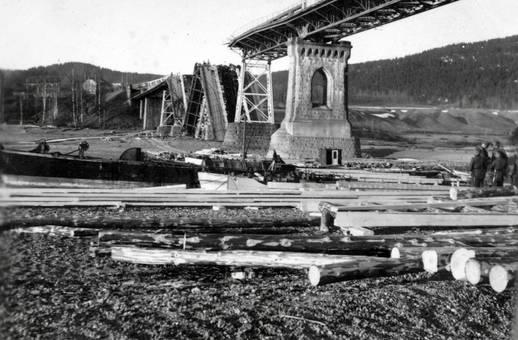 Zerstörte Brücke in Norwegen
