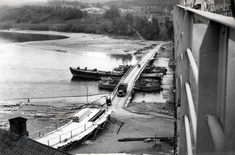 baum, Behelfsbrücke, boot, brücke, Brückenreparatur, holz, Minnesund jernbanebru, Reparatur