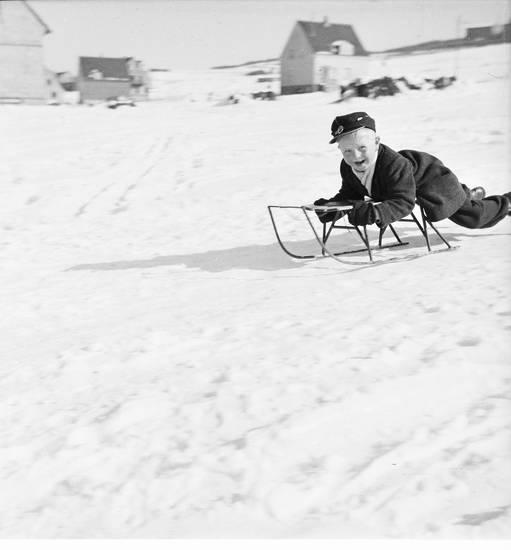 Kindheit, mütze, schlitten, Schlittenfahrt, schnee, winter