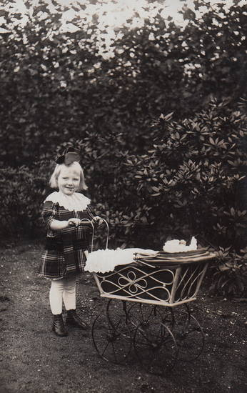 Kindheit, mode, park, Puppenwagen, Schleife