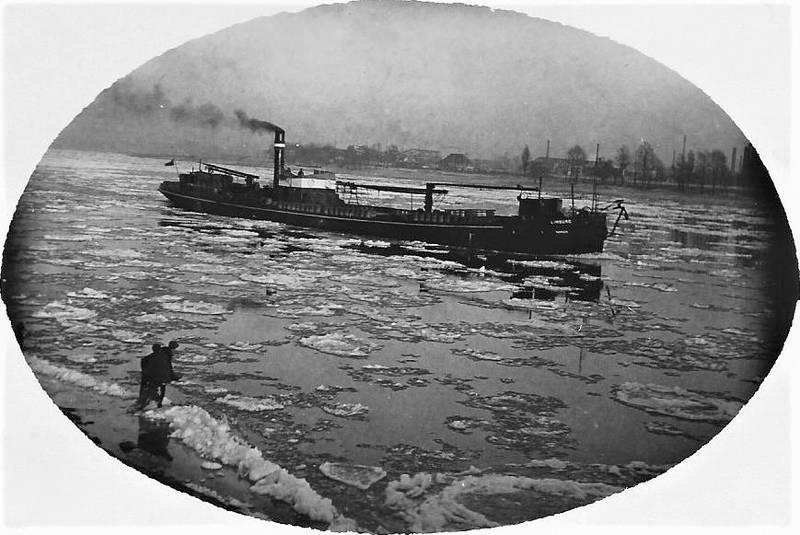 Dampfschiff, eisgang, Rhein, Rheinschiff
