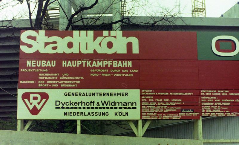 Baustelle, dyckerhoff&widmann, Müngersdorfer Stadion, neubau, Schild