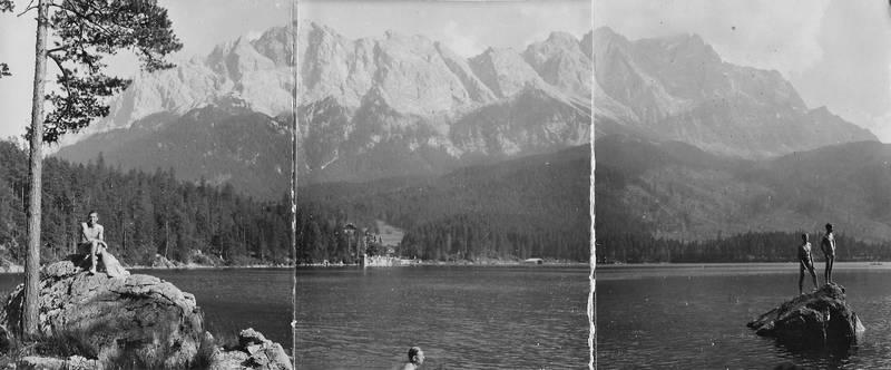 Alpen, Badende, bayern, eibsee, Gebirge, Panorama, Zugspitze