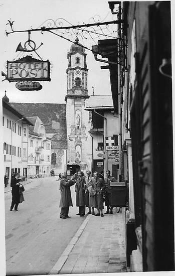 Hotel, hotel post, kirche, Mittenwald, Obermarkt, straßenansicht