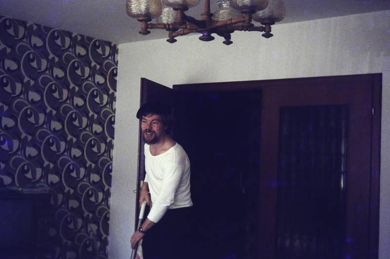 lampe, putzen, staubsauger, tapete, wohnzimmer