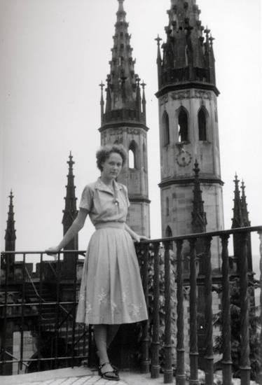 Geländer, kleid, mode, Schloss, Stolzenfels, turm, uhr
