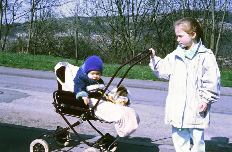 Geschwister, kind, kinderwagen, Kindheit, Sonne, spaziergang