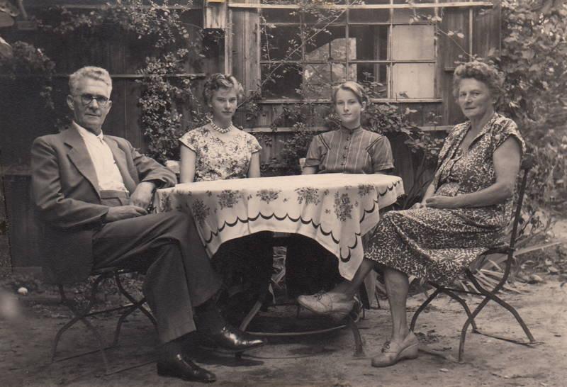 familie, garten, kleid, mode