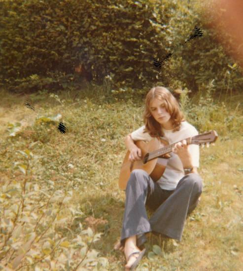 Gitarre, musik, Sandale, wiese