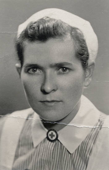 Krankenschwester, porträt, rotes kreuz