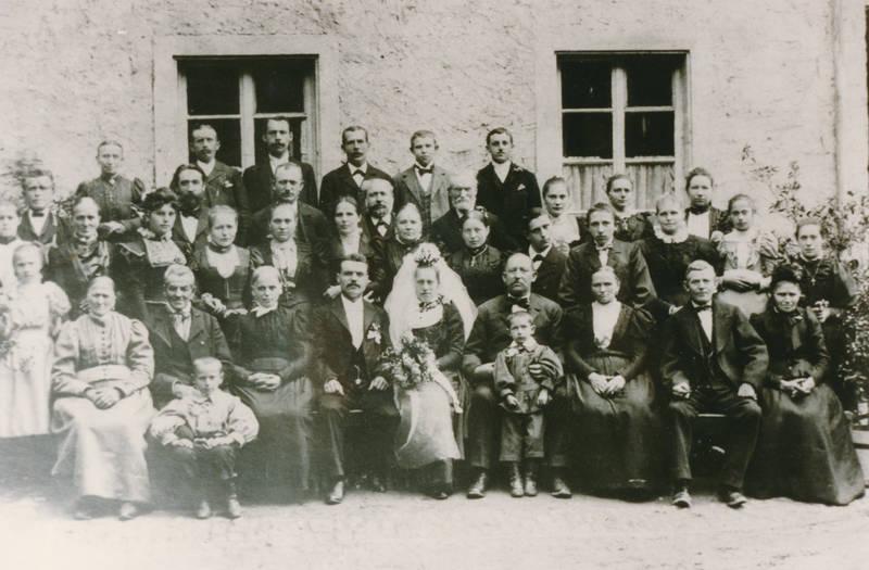Braut, Bräutigam, gruppenfoto, Hochzeit, Hochzeitsgesellschaft
