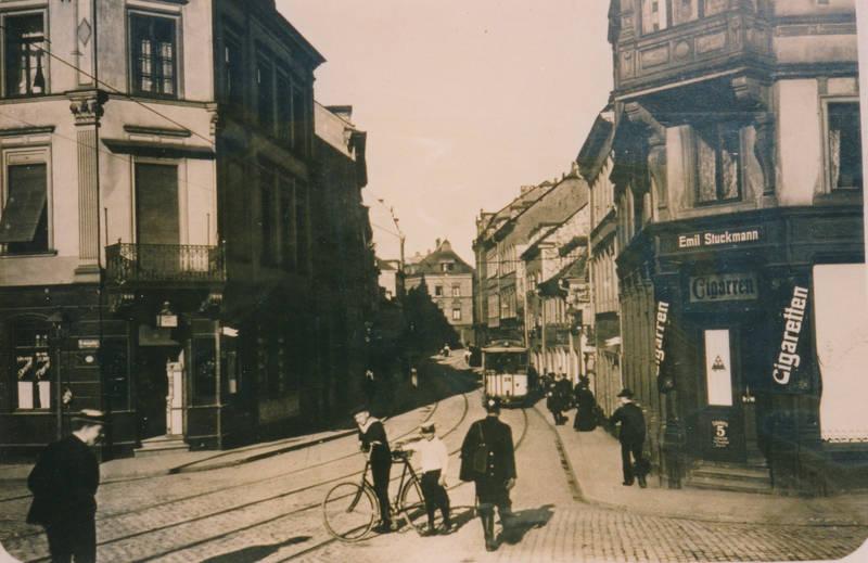 brückenstraße, cigaretten, fahrrad, geschäft, laden, Rheinland-Pfalz, stadt, Straßenbahn, Trier, werbung