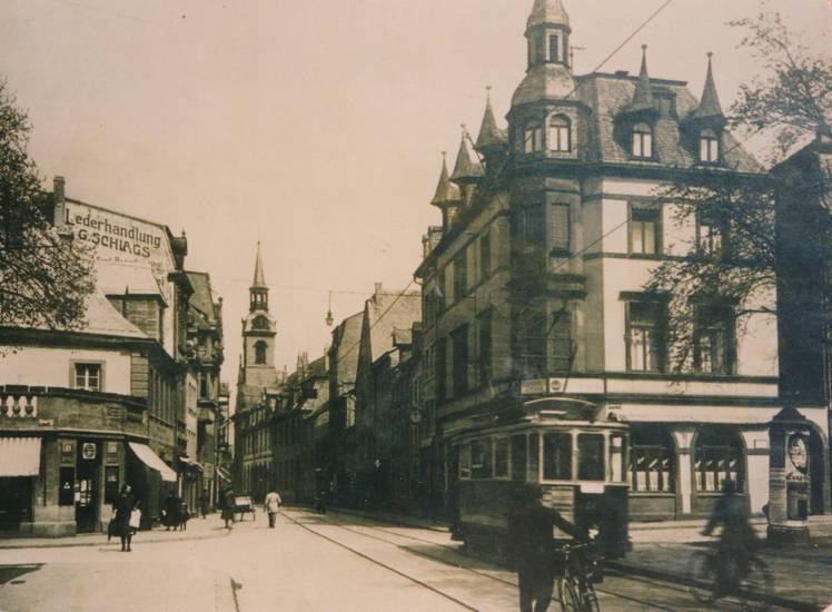 Altstadt, geschäft, haus, lederhandlung, Rheinland-Pfalz, straße, Straßenbahn, Trier