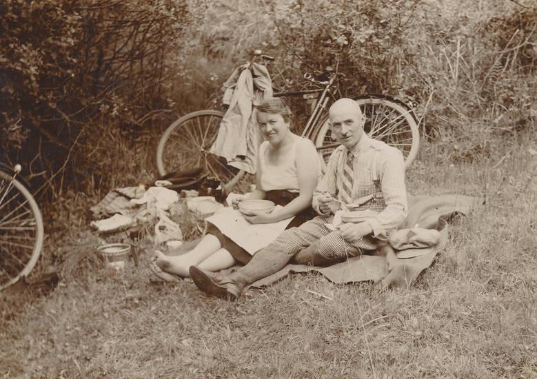 ausflug, Decke, essen, fahrrad, Paar, picknick