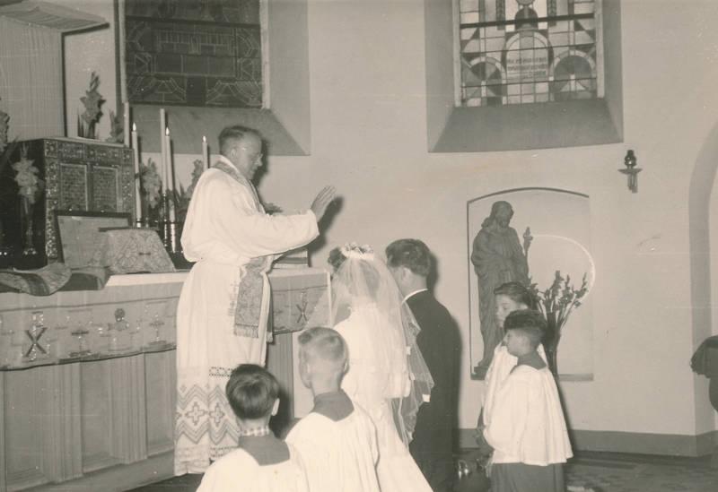 Hochzeit, kirche, Messdiener, Paar, pastor, trauung