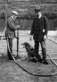 Zwei mit Hund