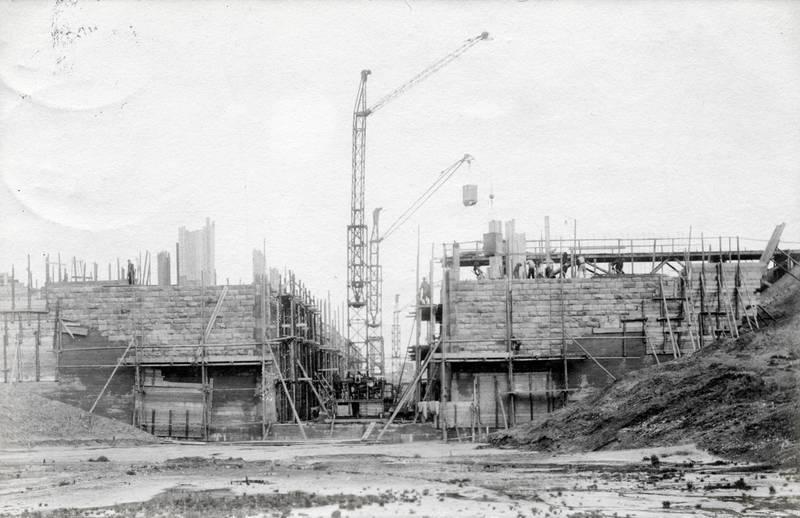 arbeit, Bau, Bauarbeit, Baustelle, gerüst, haus, Kran, Rhein-Herne-KanaL, Schleuse, wanne, Wanne-Eickel