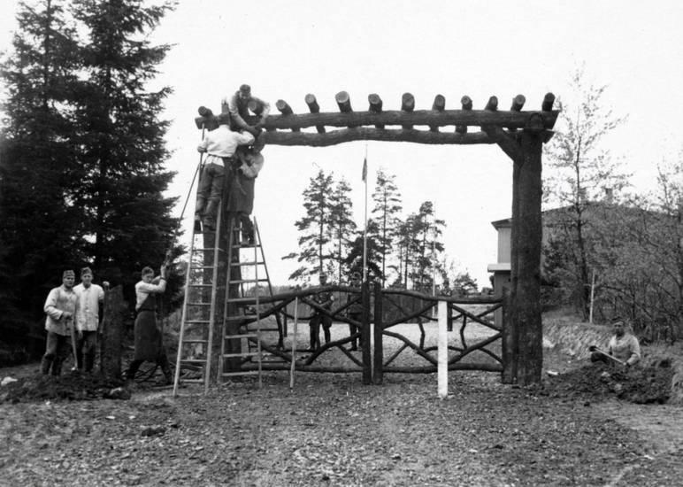 gerüst, holz, Holzgerüst, rad, Reichsarbeitsdienst, zweiter weltkrieg
