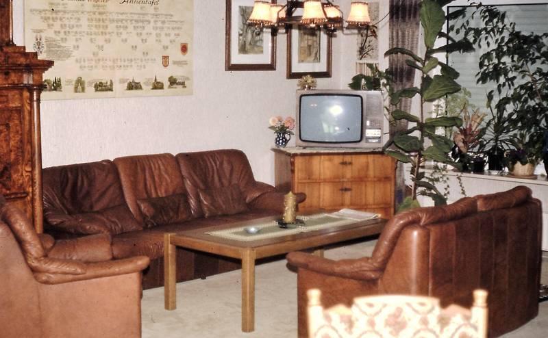 Ahnentafel, couch, Fernseher, Gardine, lampe, sekretär, sessel, tisch, Wandbilder, wohnzimmer