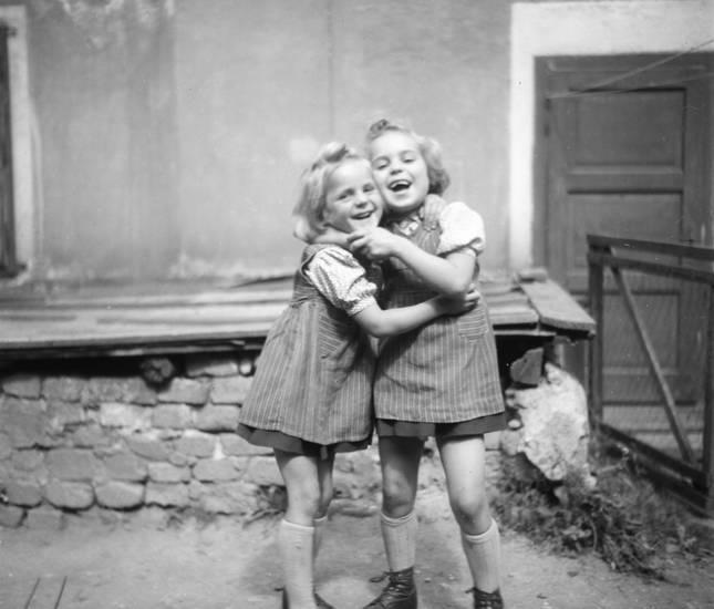 Kindheit, lachen, mädchen, Zwillinge