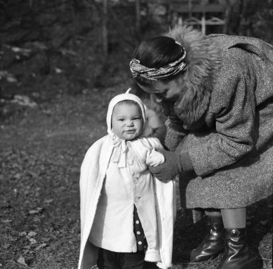 Kindheit, mantel, mode, Mutter, mütze