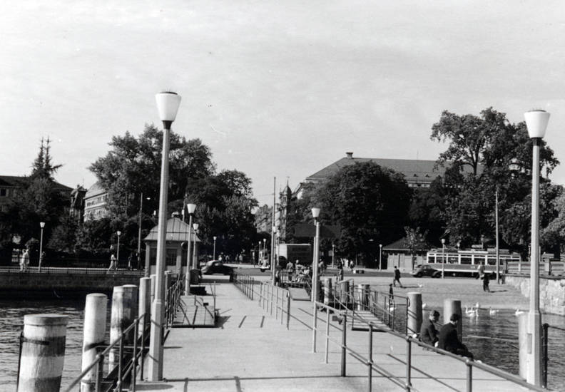 auto, bahn, KFZ, PKW, schwan, see, Steg, Straßenbahn, Ufer, zürichsee